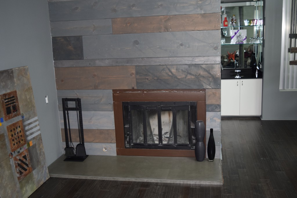 Hearth w/ Reclaimed Wood Wall